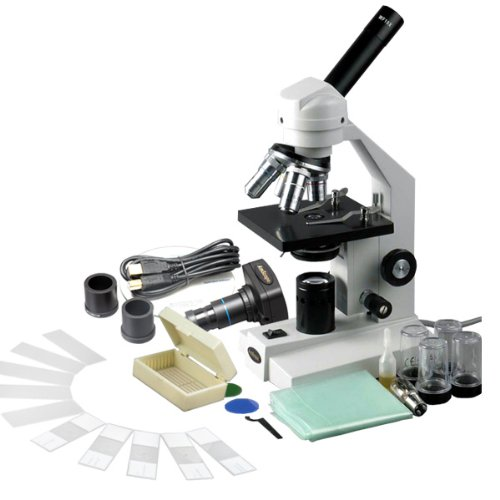 40X-2500X Advanced Compound Microscope with USB Digital Camera & 10pc Slide Kit