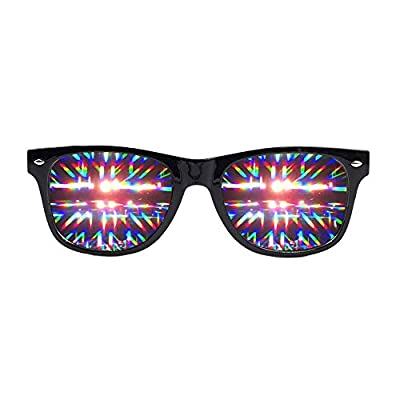 EmazingLights Diffraction Prism Rave Glasses (Black, Transparent Lens)