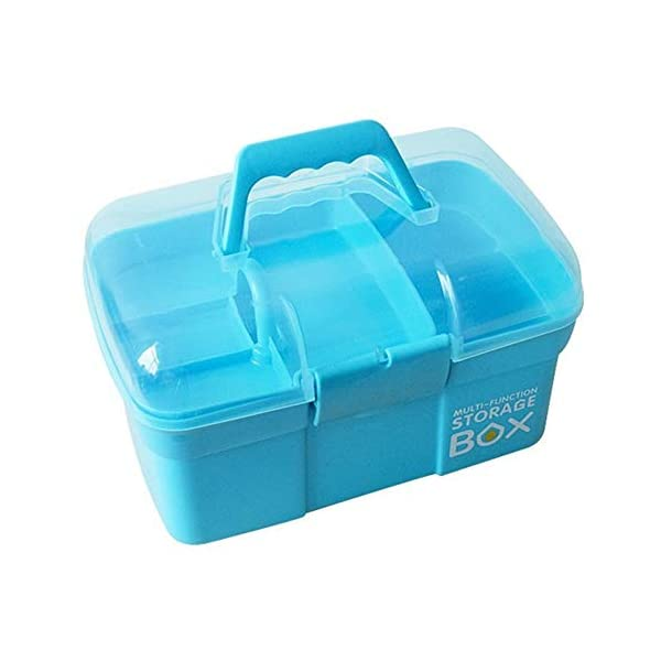 "Sunxenze 11"" Clear Plastic Storage Box/Family First Aid Box/Tool Box, Multipurpose Organizer with Removable Tray, Portable Handled Storage Case for Art Craft and Cosmetic (Light Blue)"