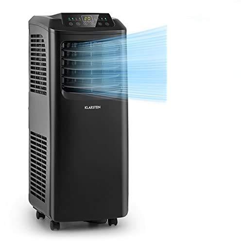 Klarstein Pure Blizzard Smart mobile Klimaanlage, 3-in-1: Klimaanlage/Luftentfeuchter/Ventilator, WiFi: App-Steuerung, EEC A, inkl. Fensterabdichtung, 24-h-Timer, 9000 BTU / 2,6 kW, 26-44 m², schwarz