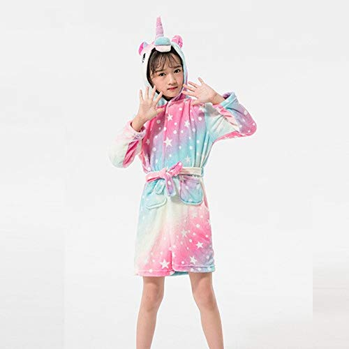 IAMZHL Kinder Bademantel Babytuch Kinder Kapuzenbademäntel Für Jungen Mädchen Pyjama Kinder Nachtwäsche Robe 3-11T-Galaxy Unicorn-10-4T