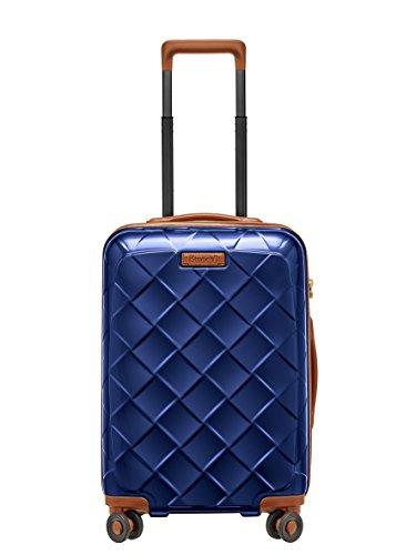 STRATIC Leather & More Hartschalen-Koffer Trolley Rollkoffer Reisekoffer Handgepäck 4 Rollen TSA-Zahlenschloss, Größe S, leicht und leise, Blue