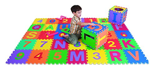 Edushape Edu-Tiles Letters & Numbers Playmatt - 36 Pieces To Mix And Match Together To Build Your Own Puzzle - Children Can Build And Create For A Educational And Fun Experience