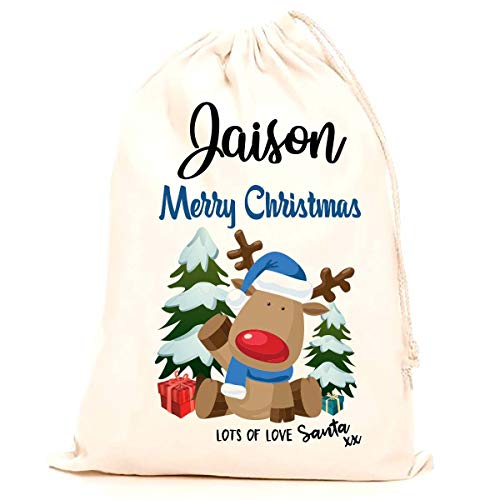100/% Cotton Large Children stocking printed with a blue reindeer Kids Treat Me Suite Jaxon personalised name Christmas santa sack making it the perfect keepsake xmas gift//present. 75x50cm