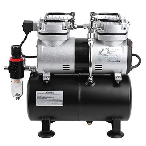 Airbrush Kompressor Kolbenkompressor Air Compressor Pump Airbrush Doppelzylinder-Sprühsatz zum Lackieren(EU Stecker)