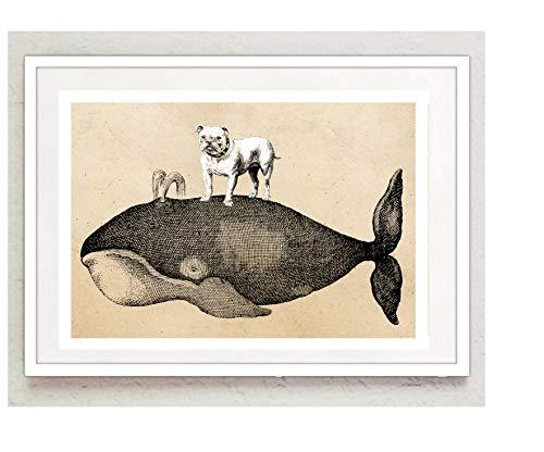 Poster Bild Großer Wal und englische Bulldogge Vintage A4 ohne Rahmen