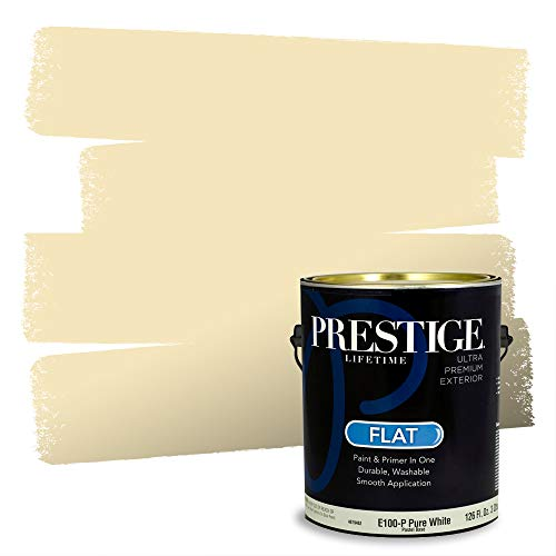 Prestige Paints Exterior Paint and Primer In One, 1-Gallon, Flat, Comparable Match of Sherwin Williams* Lemon Chiffon*