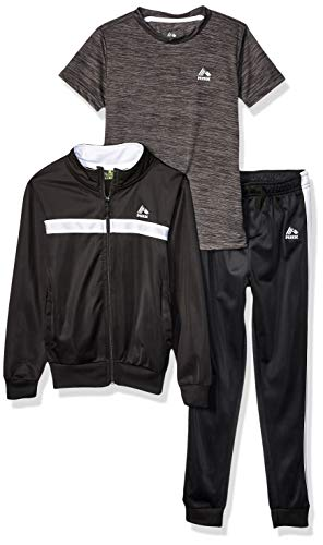 RBX Boys' Little Tricot Jacket, Tee and Pant Set, Black Spaced Dye, 5/6