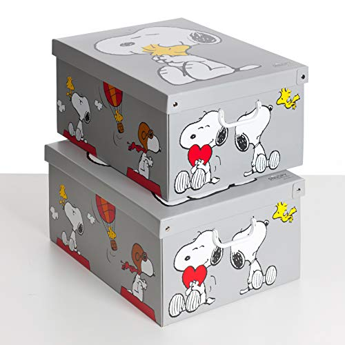 SET DE DOS Cajas de almacenamiento en cartón, tamaño grande, 2 unidades, modelo SNOOPY