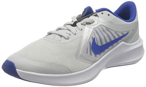 Nike Downshifter 10 (GS), Running Shoe, Photon Dust/Game Royal-Speed Yellow, 37.5 EU
