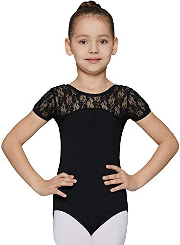 MdnMd Girls Ballet Dance Neck Lace Leotard for Toddler Gymnastic With Bow Back Detail Cap Sleeve (Black, 12-14 Years)