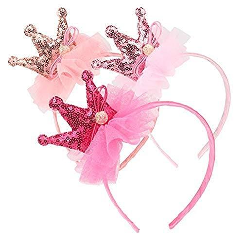 BJ-SHOP Madchen Krone, Prinzessin Tiara Set Tiara Elastisches Haarband Sparkling Crown Stirnband 3 Stuck
