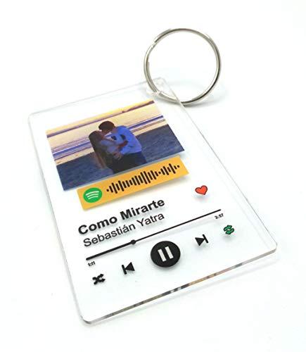 Llavero Acrílico (2 UNIDADES IGUALES) personalizado con canción y foto. Regalo original. Regala música de una forma nueva. Impresión directa (LLAVERO ACRÍLICO)