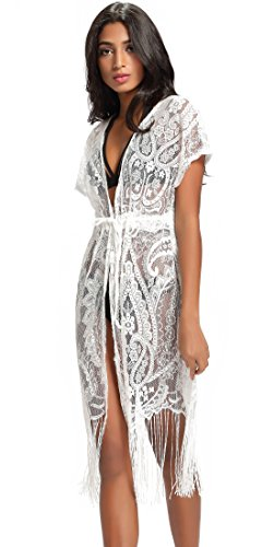 Costyleen Summer Womens Beach Wear Cover up Swimwear Bikini Lace Floral Long Maxi Beach Dress White