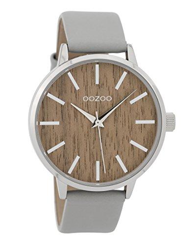 Oozoo Damenuhr mit Lederband Wood Holz Zifferblatt 42 MM Holz/Hellgrau C9250
