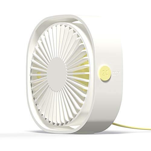 Simpeak Ventilador Mini USB Silencioso de 3 Velocidades Mini Fan, 360 Grados Rotation Fan USB Ventilador Portátil para Biblioteca, Oficina, Camping, Picnic, Excursiones(Blanco)