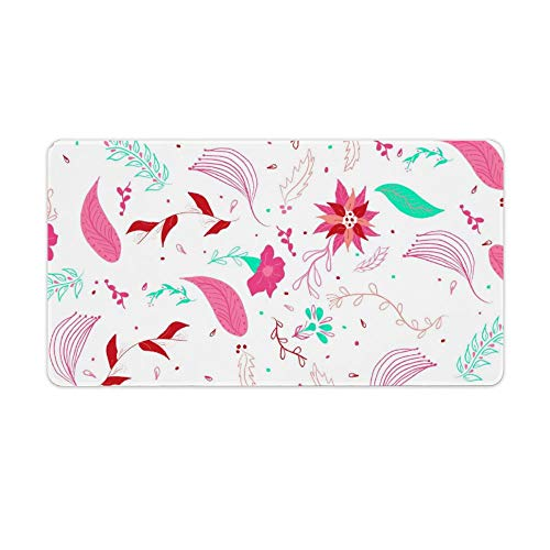 Extended Gaming Mouse Pad with Stitched Edges Waterproof Large Keyboard Mat Non-Slip Rubber Base Modern Winter Pink Turquoise Floral Pattern Desk Pad for Gamer Office Home 16x10 Inch