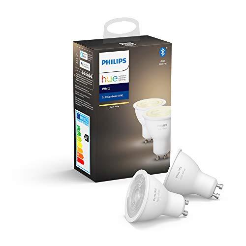 Philips Hue 2 Spots Led Intelligents Blancs, avec Bluetooth, Base GU10, à Intensité Variable, Toutes Les Nuances de Lumière Blanche Chaude, 2 Pièces, Appareil Certifié pour Les Humains