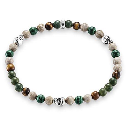 Thomas Sabo Damen Herren-Armband Rebel at Heart Totenkopf 925 Sterling Silber geschwärzt natur grün braun Länge 15.5 cm A1531-929-7-L15,5