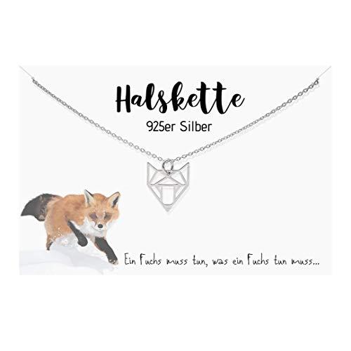Edelschnitte Halskette Fox 925er Silber Fuchsliebe Fuchs Fuchskette Geschenk