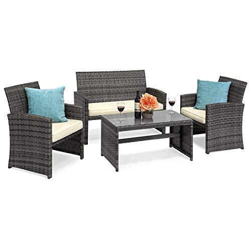 Best Choice Products 4-Piece Wicker Patio Conversation Furniture Set w/ 4 Seats, Tempered Glass Tabletop - Gray Wicker/Cream Cushions