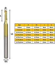 Yanhuigang Molino de Hilo Resistente al Desgaste 3.175mm Shank Single Flaute Spiral Fresing Cutter 10pcs Titanio Recubierto Carburo Molino Enrutador CNC Router bit Grabing Fresing Cutter