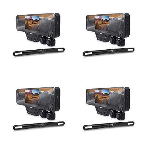 Pyle PLCMDVR54 Dash Cam Rearview Mirror Backup Camera Car Video Recording System with 1080P and Built in LED Night Vision Lights (4 Pack)