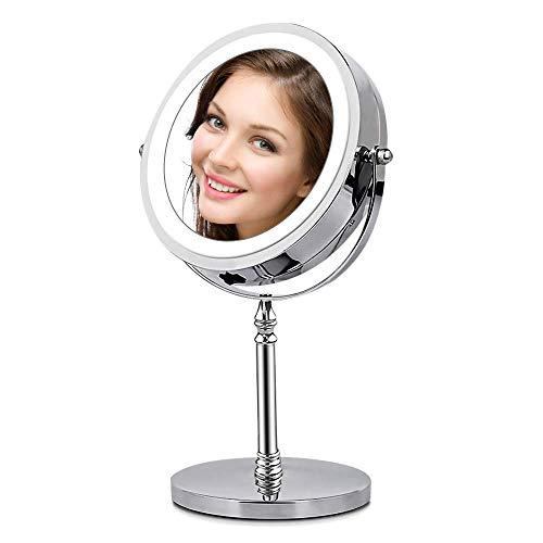 Espejo Maquillaje con Luz - Circulo LED Espejo Cosmético 1X / 10X de Aumento de Doble Cara Espejo Cosmético Portátil para Vanidad, Rotación ajustable de 360 °, Afeitado o Viaje - AMZTOLIFE