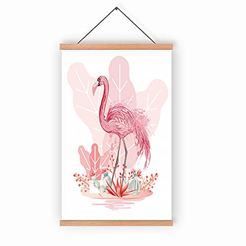 Flamingo Posters and Prints, Natural Wood Hanger Frame Poster, Canvas Watercolor Animals Painting Modern Wall Decor for 28X45cm Wall Hanging Art Print, Baby Room Kids Room nursery Decor