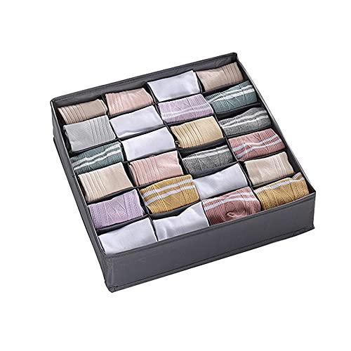 Bolsa de almacenamiento para calcetines, 24 compartimentos, separador de cajones, armario plegable, compartimento de almacenamiento plegable para calcetines (gris)