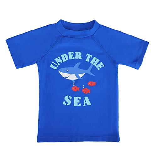 LACOFIA Traje de baño de Manga Corta para bebé Camiseta de baño para niños con protección Solar UPF 50 + Secado rapido Azul 3-4 Meses