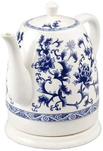 Hervidor de porcelana azul y blanco Cerámica eléctrica Hervidor de porcelana azul y blanco 1.5L Herviciones Agua Rápido para té Sopa de café Resistente al calor de la harina de avena / Código de produ