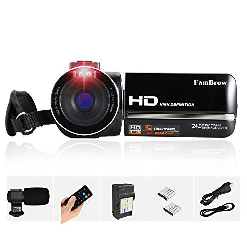 Video Camera for YouTube Vlog, Digital Camcorder FHD 1080P 60FPS 24MP Touch Screen IR Night...