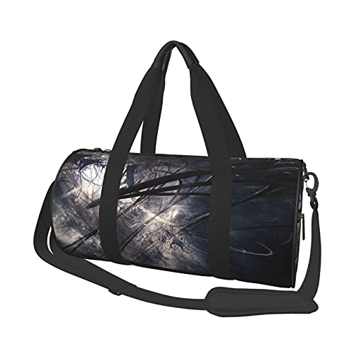 Bolsa de viaje abstracta oscura, ligera, suave y duradera, de gran capacidad, portátil, cilíndrica, para entrenamiento deportivo, bolsa de ocio