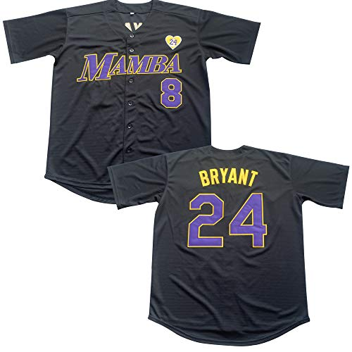 Men's 8 Legend 24 Bryant Button Down Jersey Hipster Hip Hop Baseball Jersey Stitched (Black, XL)