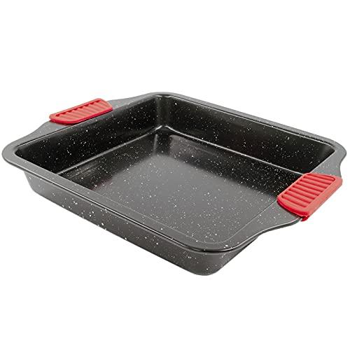 Teglie quadrate, Teglia da forno antiaderente in acciaio al carbonio Con manico in silicone Nero 28CM