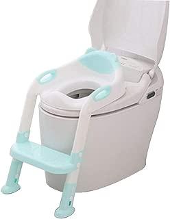 CQILONG おまるトイレトレーナーステップ式シート補助便座をステップあり滑り止め 安定した 調整可能 、O、V、U、正方形のトイレに適しています 、2色 (Color : Green, Size : 34x66cm)