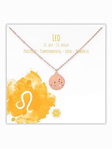 MURANDUM Sternzeichen Halskette | Zodiac Sign Star Constellation Necklace | Damen Kette mit Sternbild Anhänger (Roségold, Löwe/Leo)