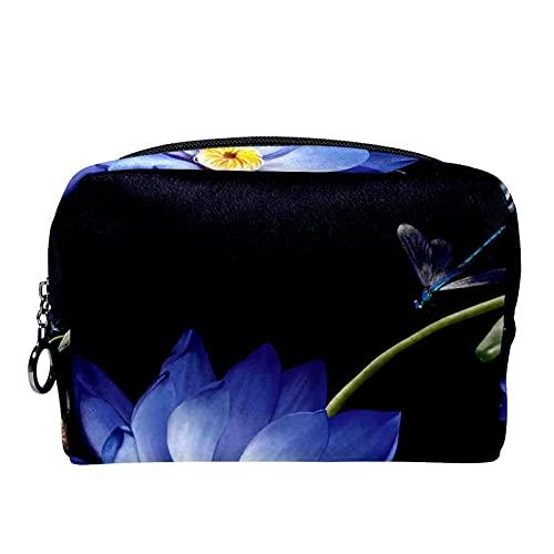 Kompakte Kosmetiktasche Schminktasche Geldbörse, Luxus lila Lotus