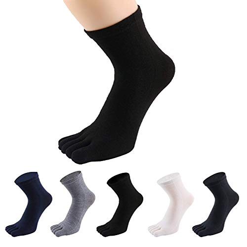 PACKGOUT #1 MENS 5 PAIRS TOE SOCKS Soft amp Breathable Five Finger Running Socks White Light grey Black Dark grey Dark blue free size