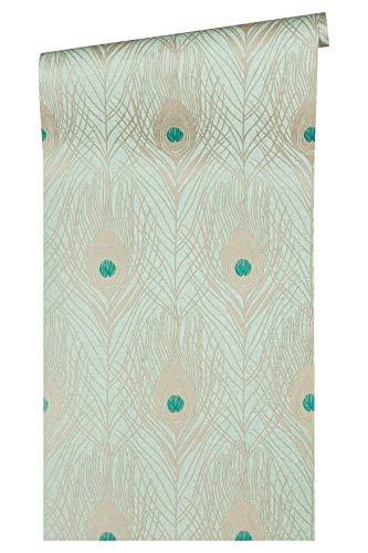 Architects Paper Vliestapete Absolutely Chic Tapete mit Pfauen Feder 10,05 m x 0,53 m metallic blau grün Made in Germany 369713 36971-3