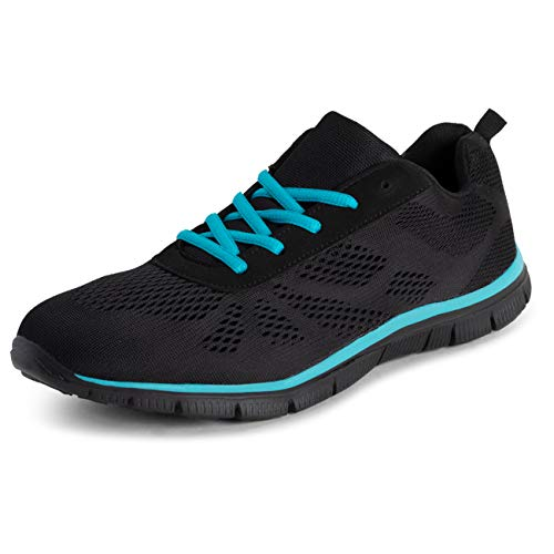 Get Fit Womens Walking Running Jogging Comfort Gym Lightweight Trainers - Black/Turquoise - UK6/EU39...