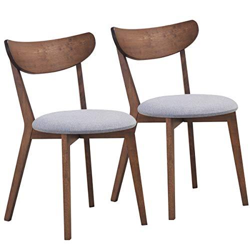 COSTWAY 2er Set Esszimmerstühle, Moderner Esszimmerstuhlmit gekrümmter Rückenlehne, Polsterstuhl Küchenstuhl mit Holz Rhame, Essstuhl Stuhl für Wohnzimmer Eszimmer Schlafzimmer Küche
