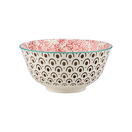 BUTLERS Ornaments Schale mit Muster in Schwarz-Rot 520 ml - Müslischale, Salatschale, Dessertschale, Suppenschale