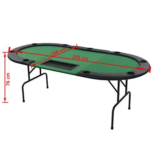 vidaXL Pokertisch 9-Spieler 3-Fach Klappbar Oval Grün Casino Poker Tisch - 9