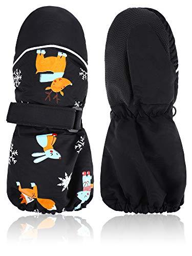 Kids Thicken Snow Mittens Unisex Waterproof Ski Mitten Winter Warm Gloves for Boys Girls (Black, 5-10 Years)