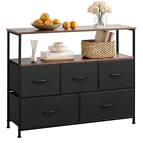 WLIVE Dresser TV Stand, Entertainment Center with Fabric Drawers, Media Console Table with Open...