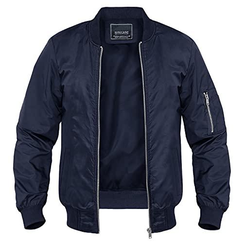 MAGNIVIT - Chaquetas casuales para hombre, ligeras, cortavientos al aire libre, con cremallera completa, con múltiples bolsillos Azul azul marino 3XL