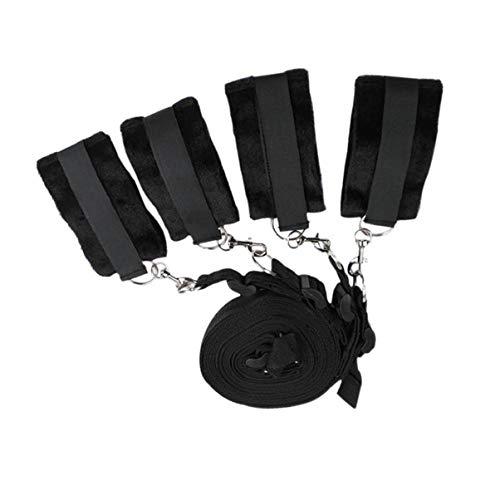 Straps Kit for Bed Couples Women and Men š&éx Play,Bed Rêštráints Kit Set with Fluffy Hàňscùffs Wrist Hand Cuffs for Couples Pleasure Play,Black