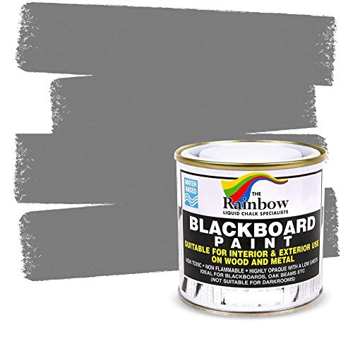 Chalkboard Blackboard Paint - Grey 8.5oz - Brush on Wood, Metal, Glass, Wall, Plaster Boards Sign, Frame or Any Surface. Use with Chalk Pen Wet Erase, Safe and Non-Toxic - Matte Finish